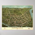 1878 Chicopee, mapa panorámico de la opinión de oj Impresiones