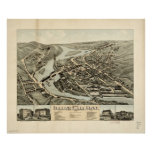 1878 Collinsville, CT Birds Eye View Panoramic Map Poster