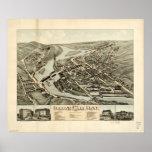 1878 Collinsville, mapa panorámico de la opinión d Impresiones