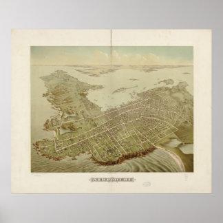 1878 Newport, mapa panorámico de la opinión de ojo Poster