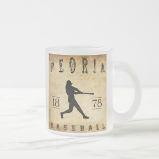 1878 Peoria Illinois Baseball Frosted Glass Coffee Mug