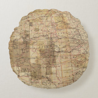 1878 Progress Map of The US Geographical Surveys 2 Round Pillow