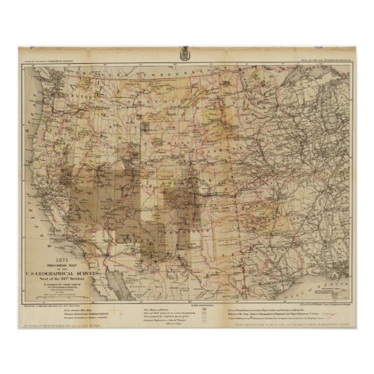 1878 Progress Map of The US Geographical Surveys 2 Poster
