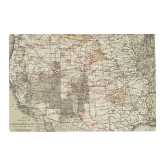 1878 Progress Map of The US Geographical Surveys Laminated Place Mat