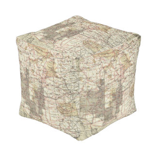 1878 Progress Map of The US Geographical Surveys Cube Pouf