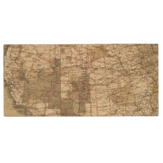 1878 Progress Map of The US Geographical Surveys Wood USB 2.0 Flash Drive