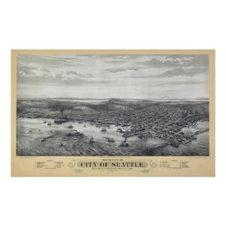 1878 SEATTLE MAP POSTER