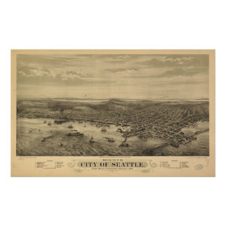 1878 Seattle, WA Birds Eye View Panoramic Map Poster