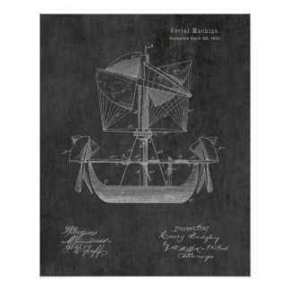 1879 Airship Boat Airplane Patent Art Drawing Poster