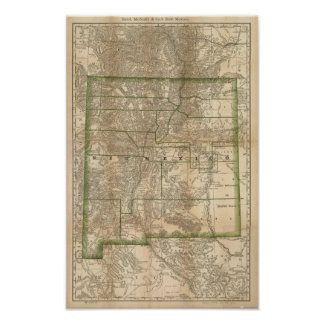 1879 Antique Rail Map of New Mexico Poster