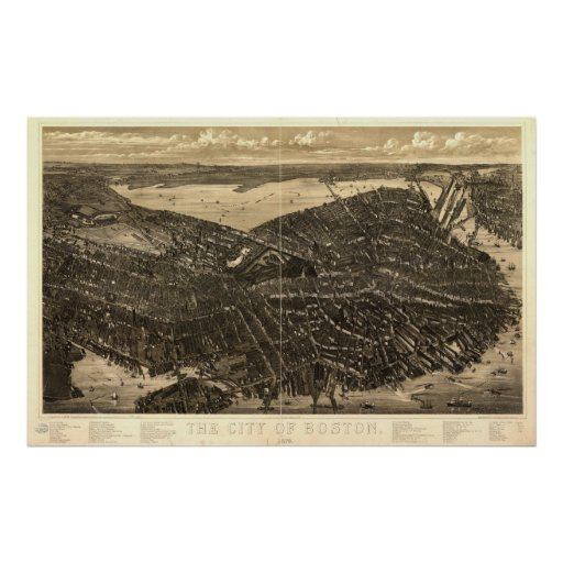 1879 Boston, MA Birds Eye View Panoramic Map Poster