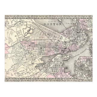 1879 Boston Map Postcard