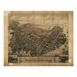1879 East Boston, MA Birds Eye View Panoramic Map Poster