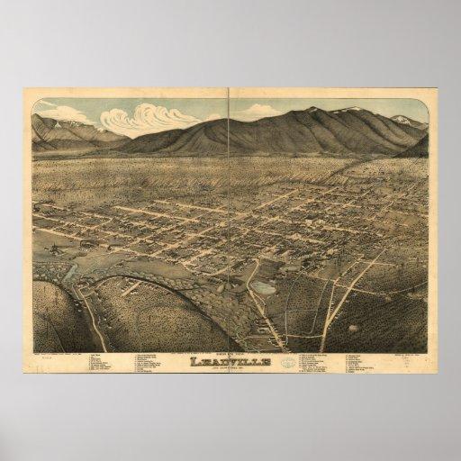 1879 Leadville, mapa panorámico de la opinión de o Poster