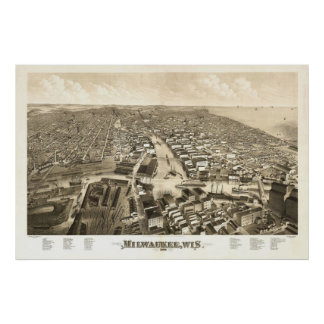 1879 Milwaukee, WI Birds Eye View Panoramic Map Posters