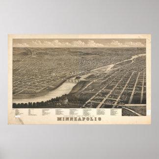 1879 Minneapolis, mapa panorámico de la opinión de Póster