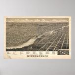 1879 Minneapolis, MN Birds Eye View Panoramic Map Poster