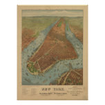 1879 New York City NY Birds Eye View Panoramic Map Posters
