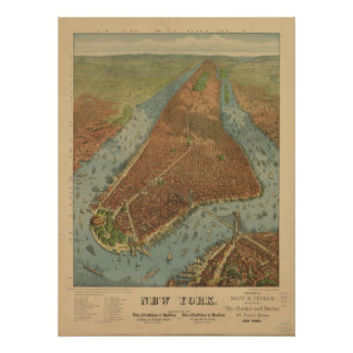 1879 New York City NY Birds Eye View Panoramic Map Poster