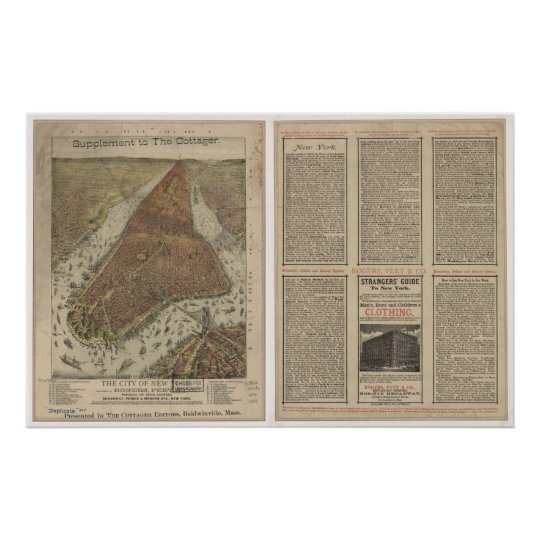 1879 New York, NY Birds Eye View Panoramic Map Poster