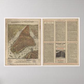 1879 Nueva York mapa panorámico de la opinión de Impresiones