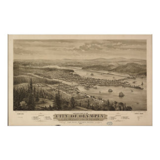 1879 Olympia WA Birds Eye View Panoramic Map Posters