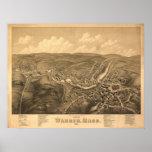 1879 Warren, mapa panorámico de la opinión de ojo  Impresiones