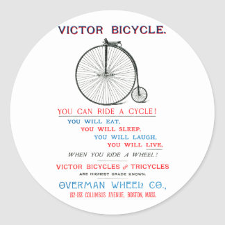 1880 Bicycle Poster Classic Round Sticker