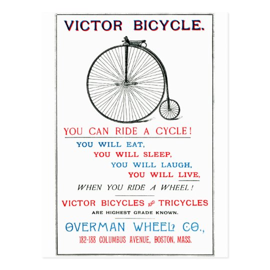 1880 Bicycle Poster Postcard
