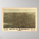 1880 búfalo, mapa panorámico de la opinión de ojo  impresiones