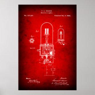 1880 EDISON LIGHTBULB PATENT POSTER