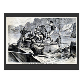 1880 Engraving, flat boat life on Ohio river Postcard