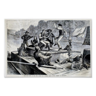 1880 Engraving, flat boat life on Ohio river Poster
