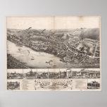 1880 Haddam del este, mapa panorámico de la opinió Poster