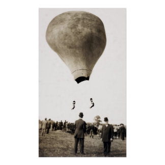 1880 Hot Air Balloon Acrobats Posters