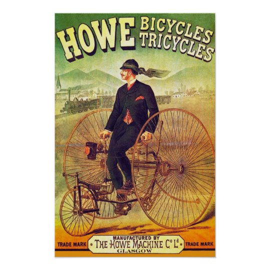 1880 Howe Bicycles Amp Tricycles Poster Zazzle Com