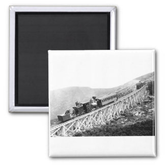 1880 Passengers trains at work 2 Inch Square Magnet