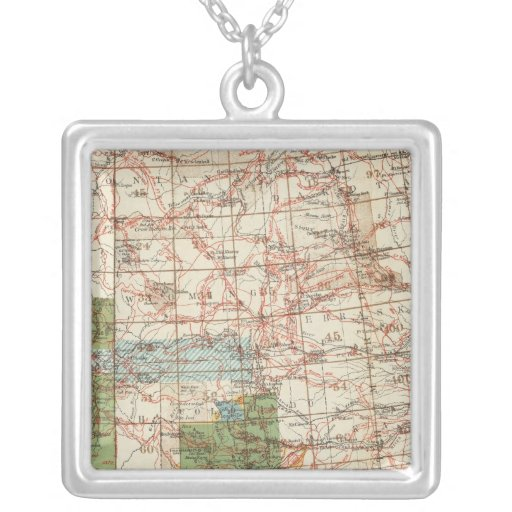 1880 Progress Map of The US Geographical Surveys Square Pendant Necklace