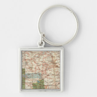 1880 Progress Map of The US Geographical Surveys Silver-Colored Square Keychain