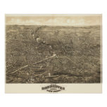 1880 Rochester, NY Birds Eye View Panoramic Map Posters