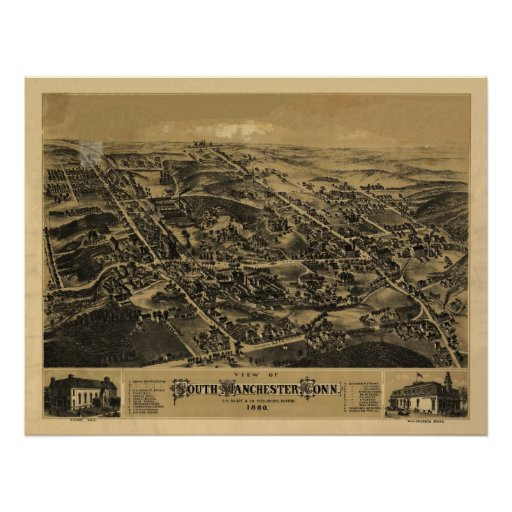 1880 South Manchester CT Birds Eye Panoramic Map Posters