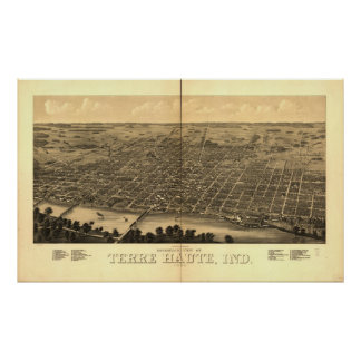 1880 Terre Haute, IN Birds Eye View Panoramic Map Poster