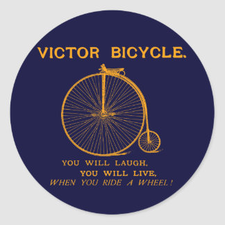 1880 Victor Bicycle Poster, orange Classic Round Sticker