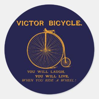 1880 Victor Bicycle Poster, orange Classic Round Sticker