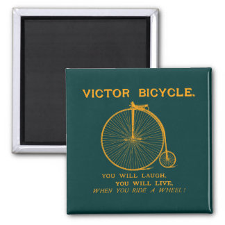1880 Victor Bicycle Poster, orange 2 Inch Square Magnet