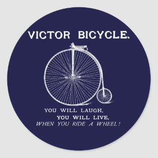 1880 Victor Bicycle Poster, White Classic Round Sticker