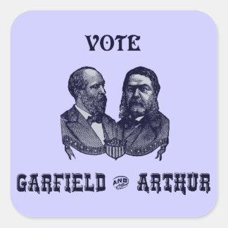 1880 Vote Garfield and Arthur, blue Square Sticker