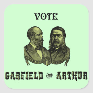1880 Vote Garfield and Arthur, green Square Stickers