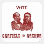 1880 Vote Garfield and Arthur, red Square Sticker