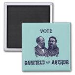 1880 voto Garfield y Arturo, azules Imán Cuadrado